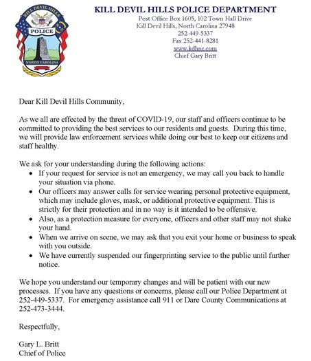 Letter from Police Chief