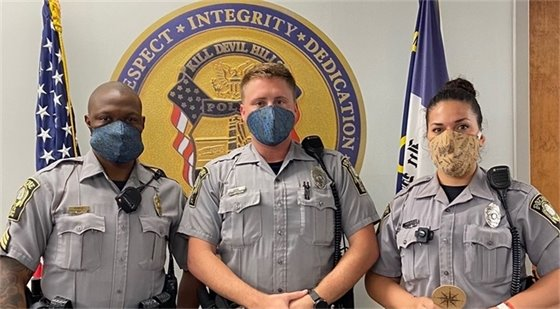 KDH Police Officers wearing cork fabric face masks