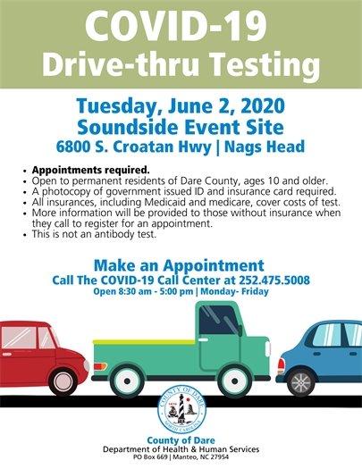 COVID-19 Drive-thru testing event on 6.2