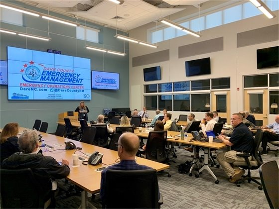 Local officials meeting at the EOC