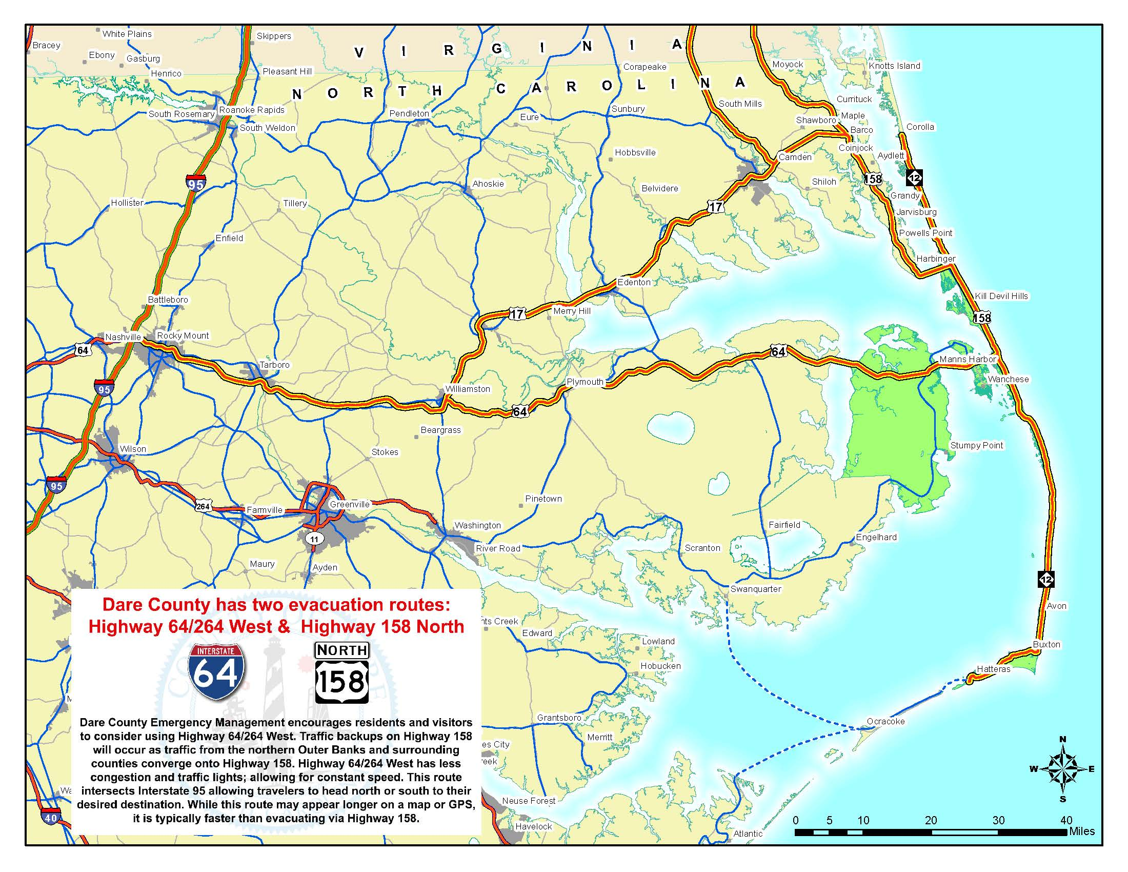 Dare County Evacuation Routes