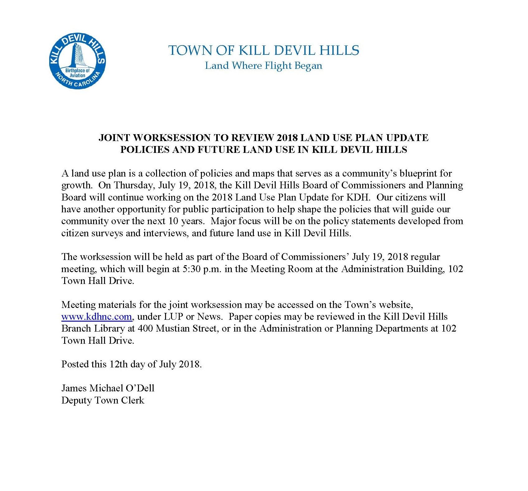 7.19.2018 Kill Devil Hills Board of Commissioners Joint Worksession Notice