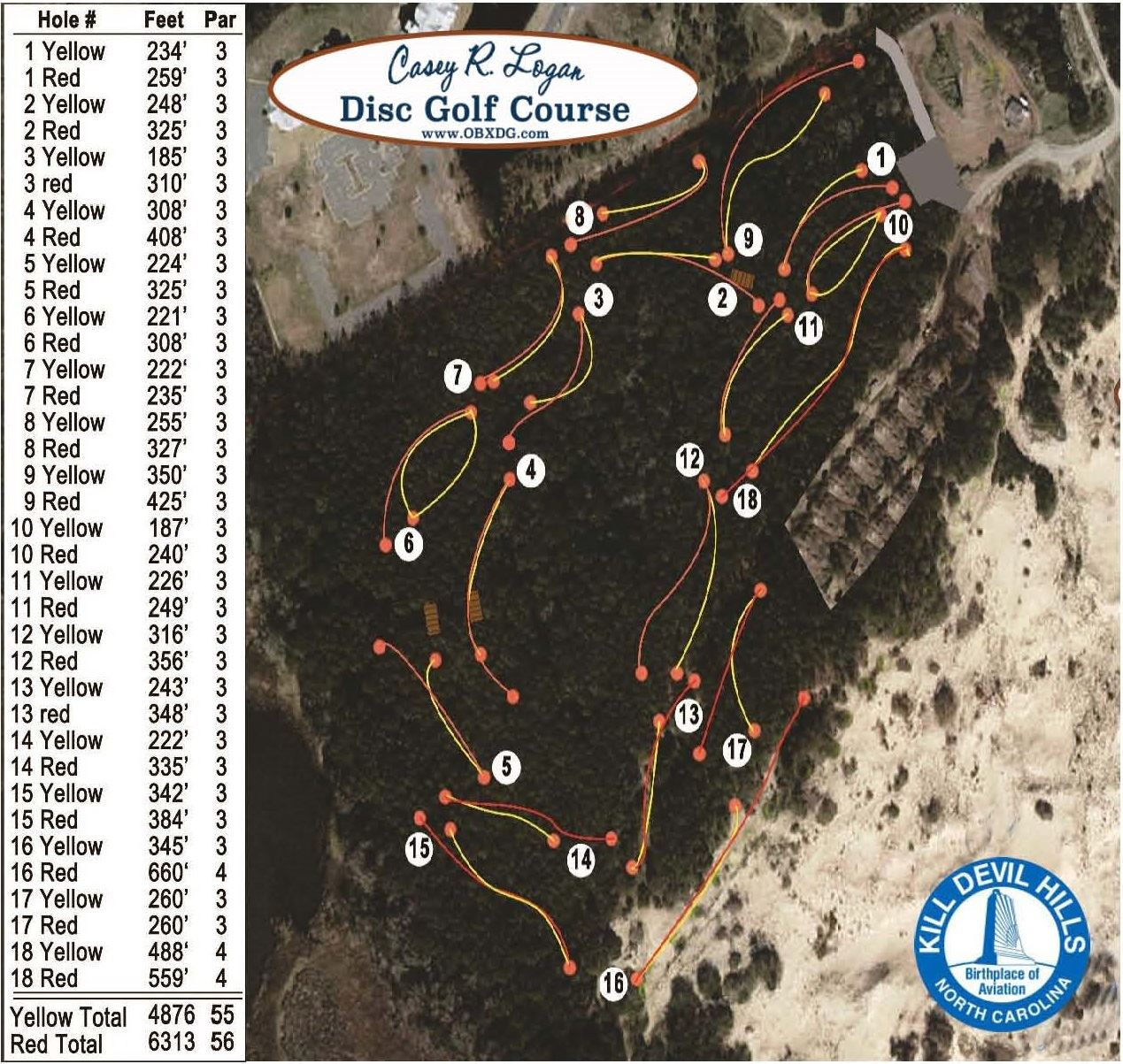 Disc Golf Course Map with Distances