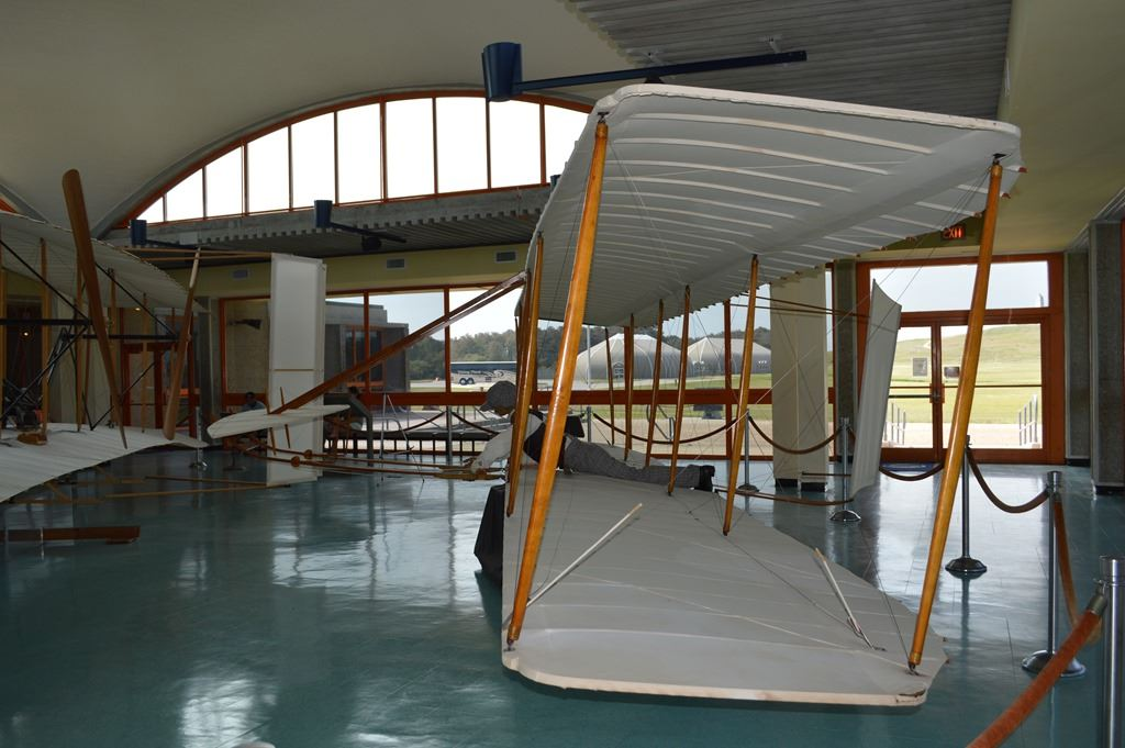 Wright Brothers glider replica in museum