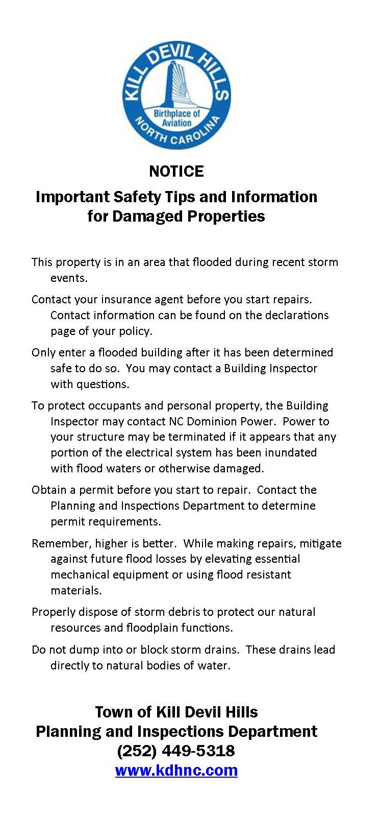 Safety Tips for Damaged Properties.door hanger