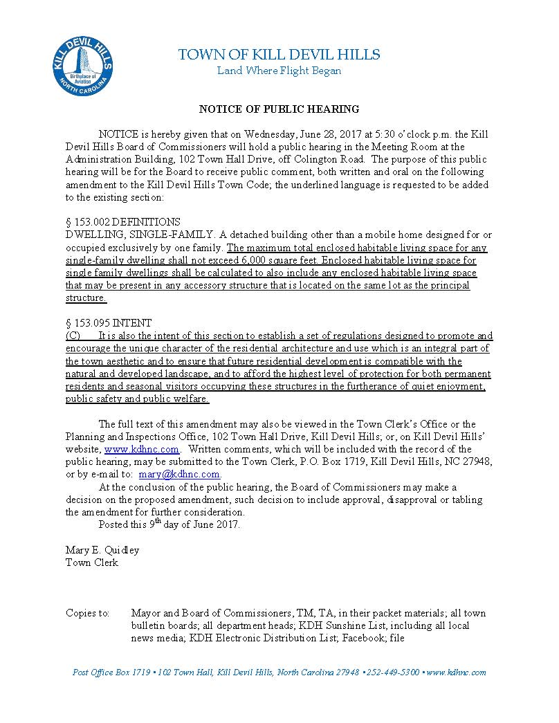 6.28.2017 Kill Devil Hills Board of Commissioners Notice of Public Hearing